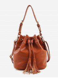String Tassels Embellished Embossed Crossbody Bag -