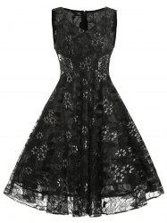 V Neck Floral Lace A Line Dress -
