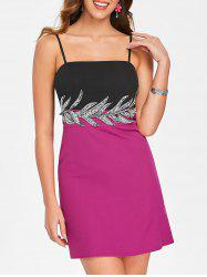 Color Block Embellished Mini Slip Dress -