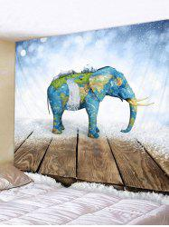 Map Elephant Print Tapestry Wall Art -