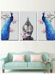 Standing Flower Branches Peacocks Printed Split Canvas Paintings -