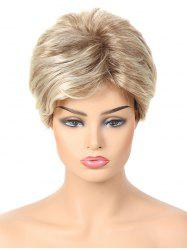 Short Side Bang Layered Colormix Straight Synthetic Wig -