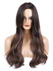 Long Center Parting Colormix Straight Lace Front Synthetic Wig -