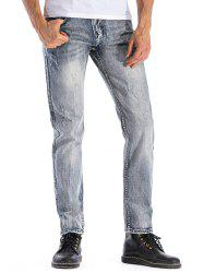 Ripped Faded Wash Zip Fly Jeans -