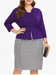 Button Insert Top and Houndstooth Print Plus Size Skirt -