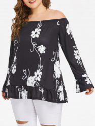 Plus Size Off Shoulder Flounce Blouse -