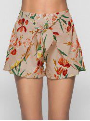 Floral Print Self Tie Shorts -