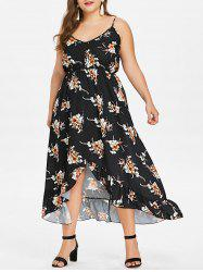 Plus Size Print Flounce Spaghetti Strap Dress -