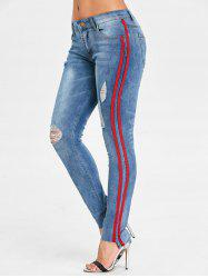 Striped Trim Ninth Ripped Jeans -