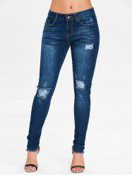 Mid Rise Ninth Ripped Jeans -