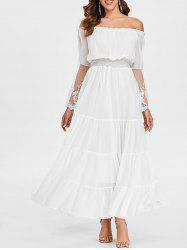 Shirred Waist Off The Shoulder Maxi Dress -