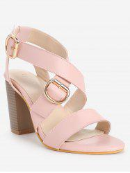 Retro High Heel Cross Strap cheville Wrap Sandales - Rose Léger  40