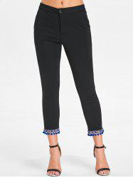Embroidered Pom Pom Hem Slim Pants -