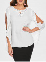 Slit Sleeve Jewel Trim Blouse -