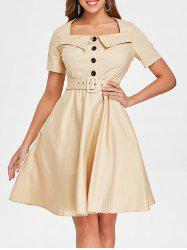 Vintage Buttoned Swing Dress -