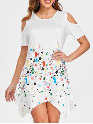 Splash Ink Cold Shoulder Dress -