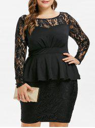 Lace Panel Plus Size Peplum Dress -