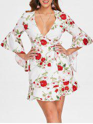 Plunge Flare Sleeve Floral Mini Dress -