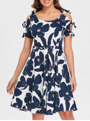 Retro Floral Bowknot Cut Out Flare Dress -