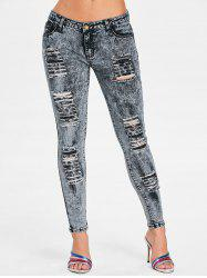 Frayed Shredding  Skinny Jeans -
