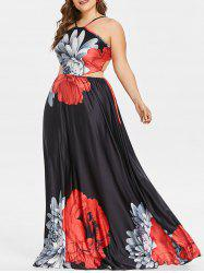 Plus Size Backless Print Maxi Dress -