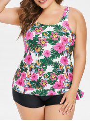 Scoop Neck Plus Size Floral Print Tankini Set -