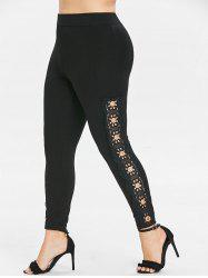 Rosegal Plus Size Openwork Lace Side Leggings -