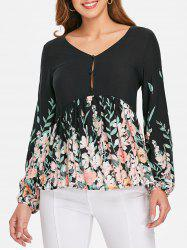 V Neck Print Flare Blouse -