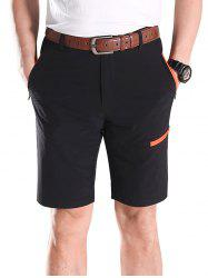Contrast Color Zip Fly Sports Shorts -