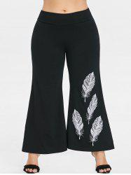 Plus Size Feather Print Bell Bottom Pants -