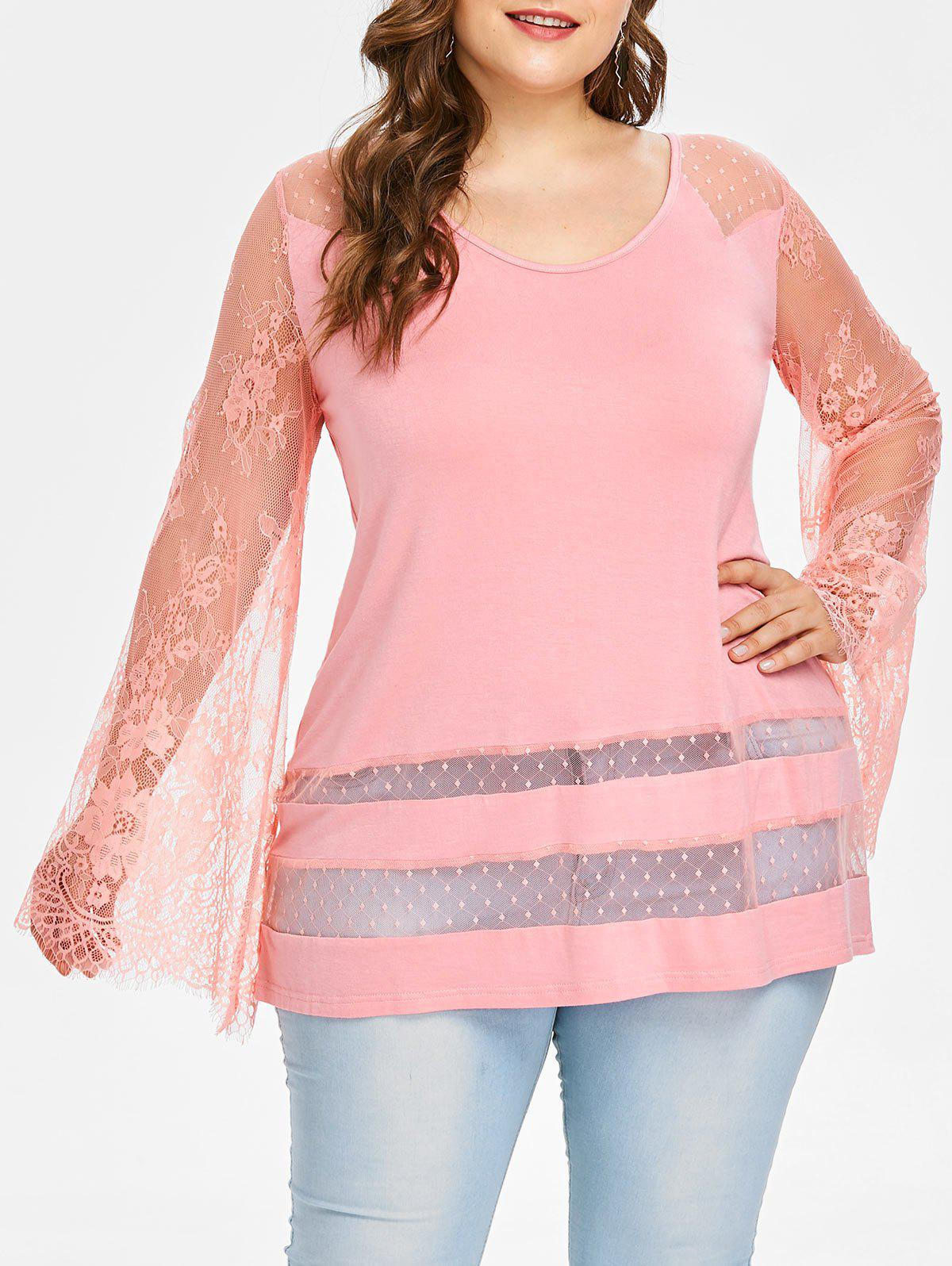 New Rosegal Plus Size Lace Trim Flare Sleeve T-shirt