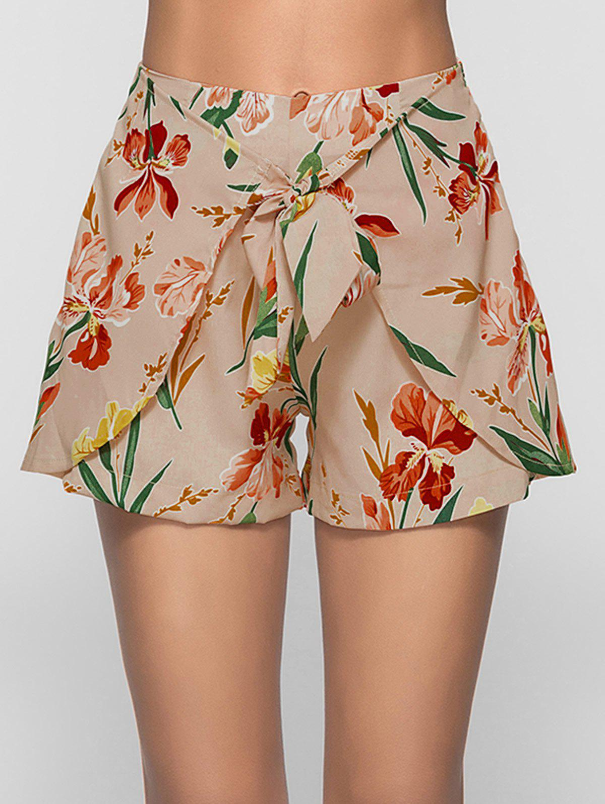 New Floral Print Self Tie Shorts