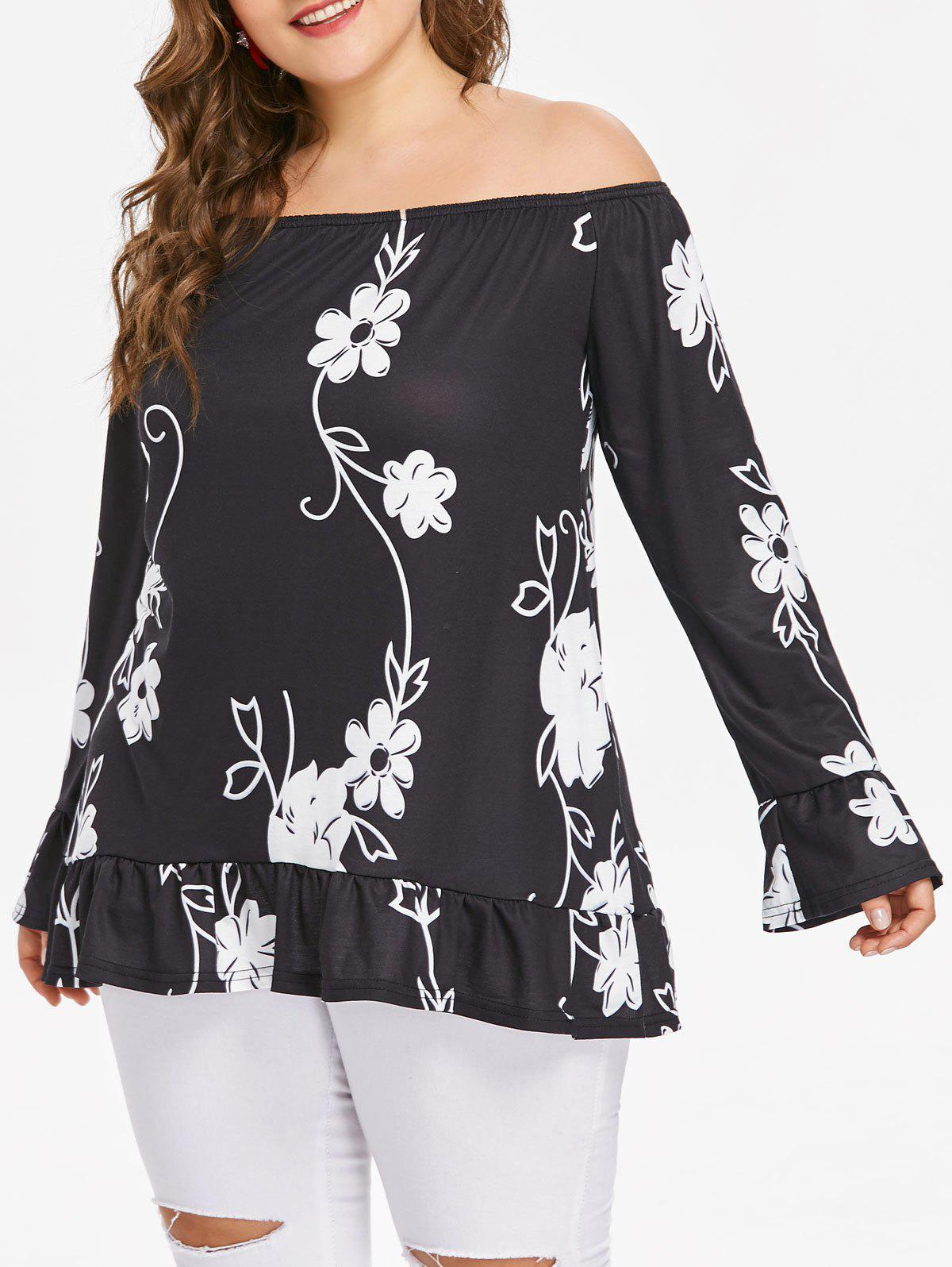 Shops Plus Size Off Shoulder Flounce Blouse