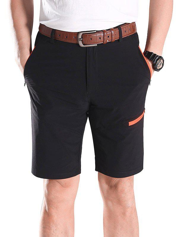 Chic Contrast Color Zip Fly Sports Shorts