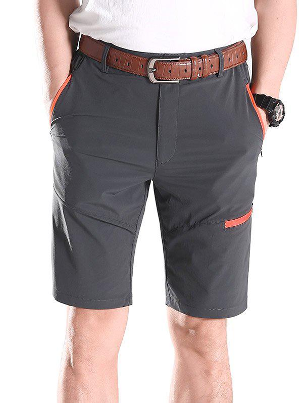 Cheap Contrast Color Zip Fly Sports Shorts