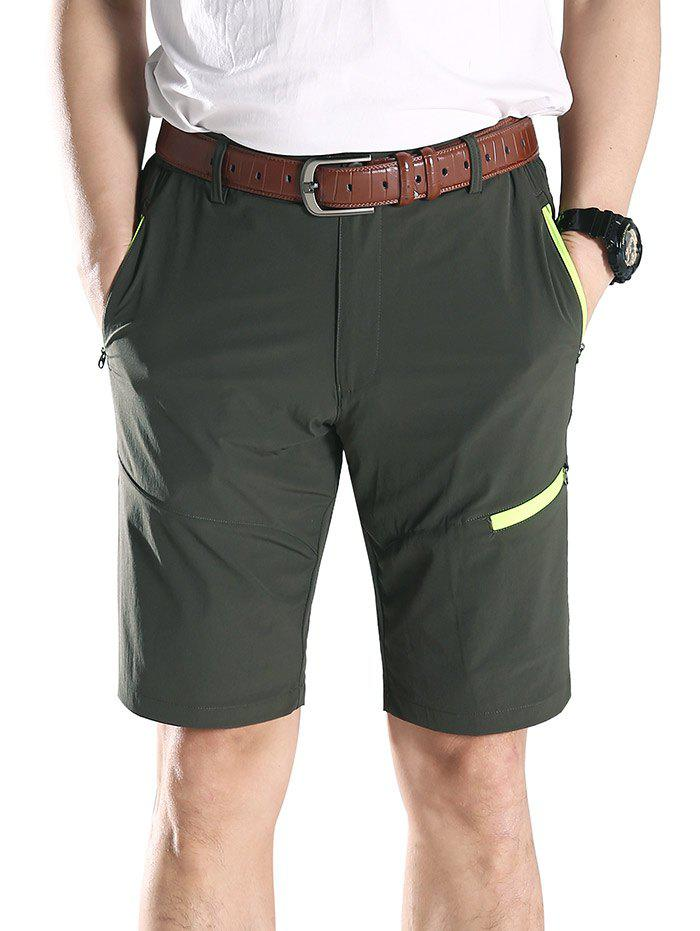 New Contrast Color Zip Fly Sports Shorts