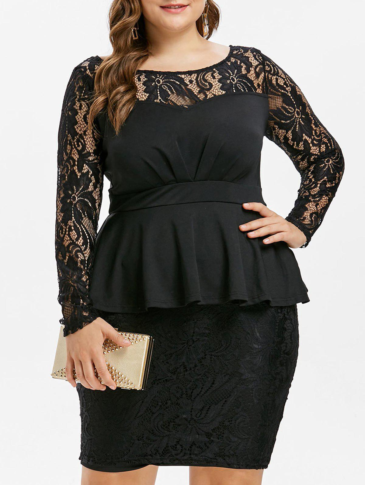 Best Lace Panel Plus Size Peplum Dress