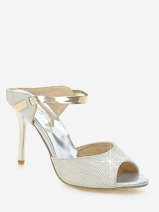 Trendy Plus Size Peep Toe Crystals Stiletto Heel Sandals