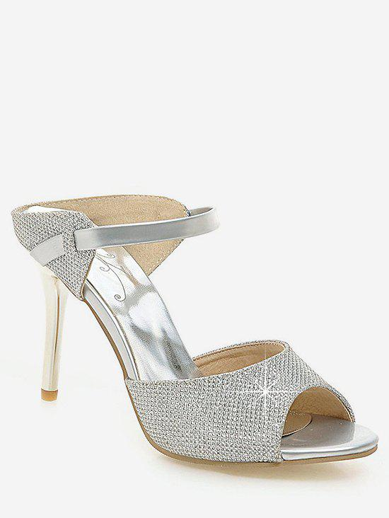 Unique Plus Size Peep Toe Crystals Stiletto Heel Sandals