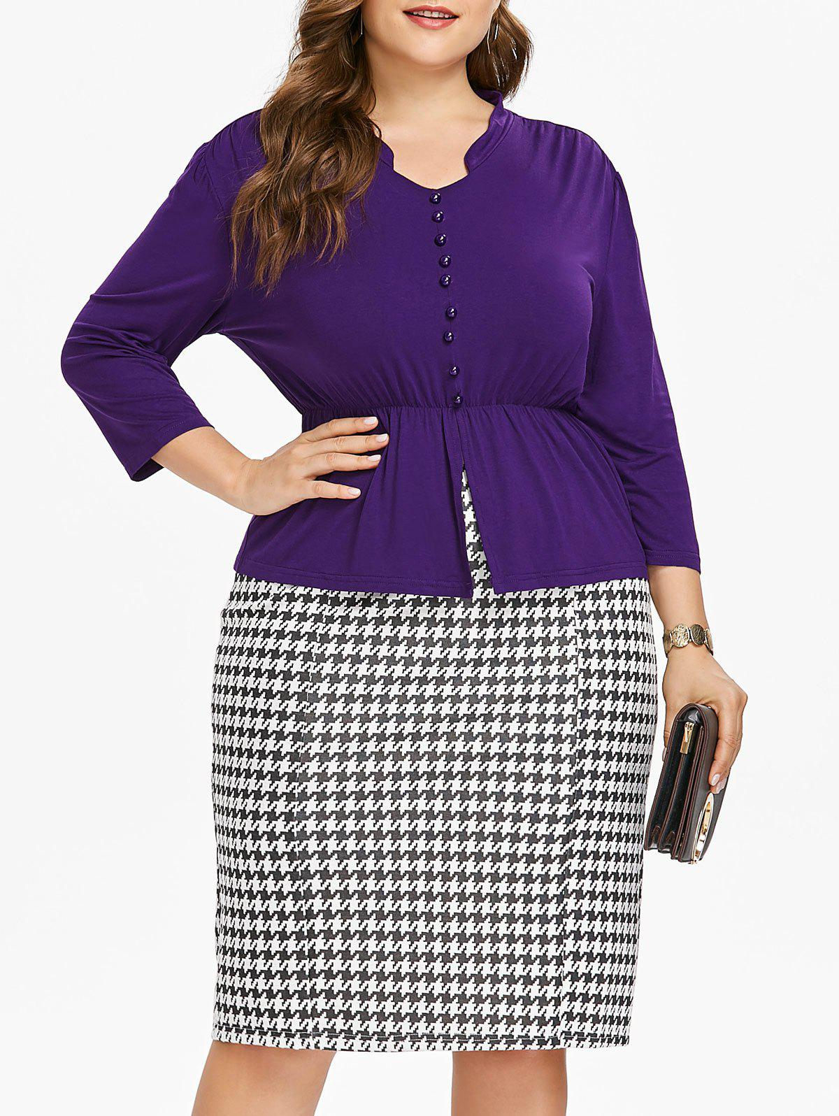 Fancy Button Insert Top and Houndstooth Print Plus Size Skirt