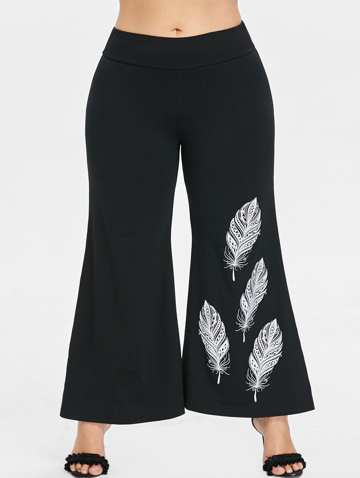 Affordable Plus Size Feather Print Bell Bottom Pants