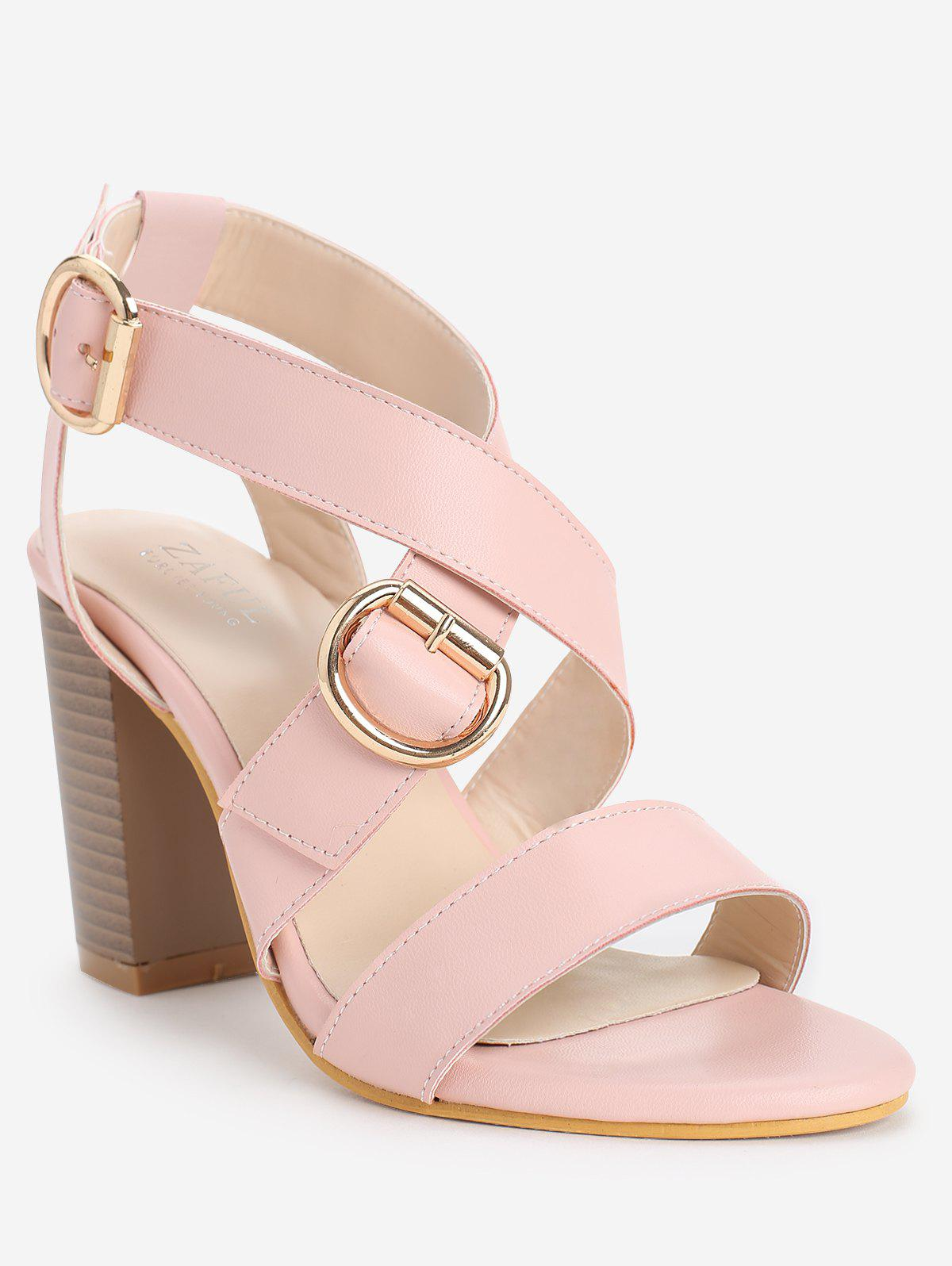 Fashion Retro High Heel Cross Strap Ankle Wrap Sandals