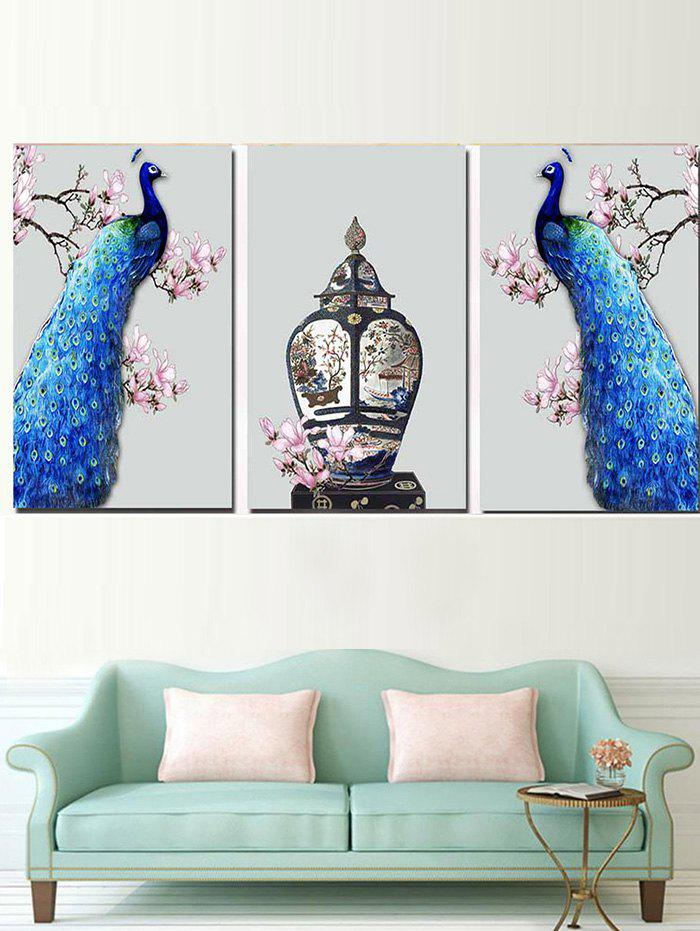Latest Standing Flower Branches Peacocks Printed Split Canvas Paintings
