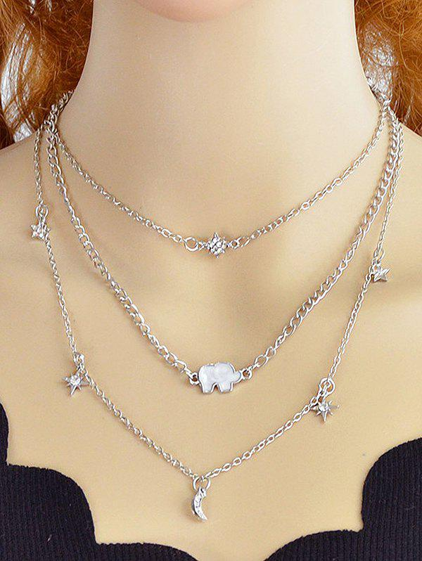 Outfit Layered Moon Star Rhinestone Alloy Necklace