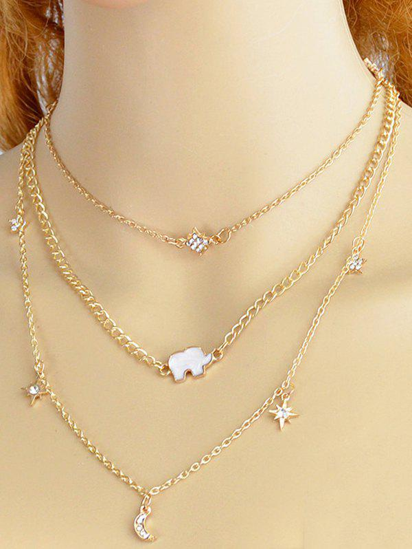 Store Layered Moon Star Rhinestone Alloy Necklace