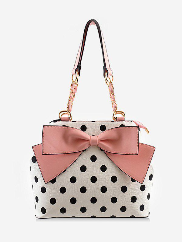 Online Contrasting Color Polka Dot Bow Chic Shoulder Bag