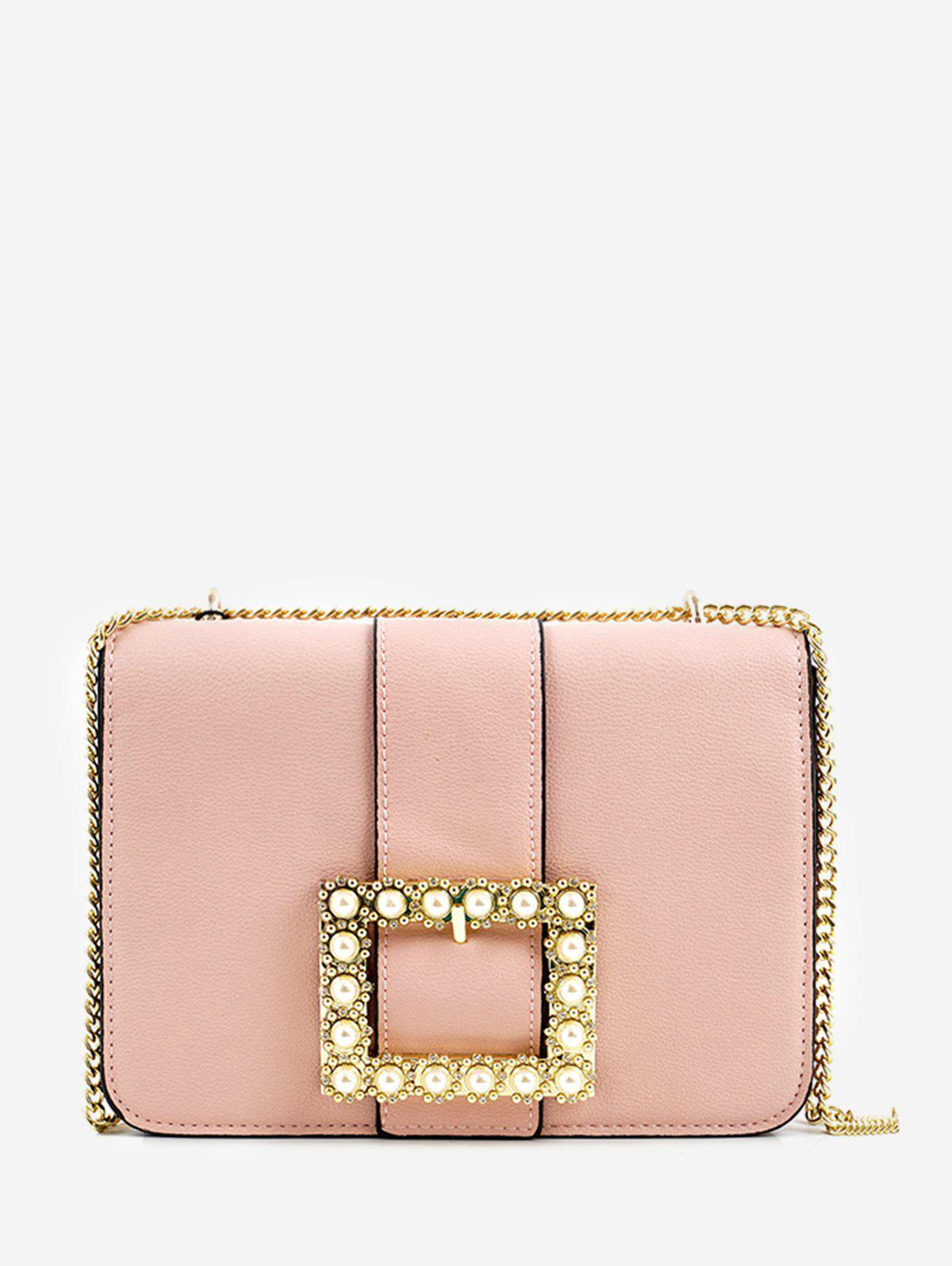 New Flap Buckled Faux Pearl Crystal Embellished Chain Bag