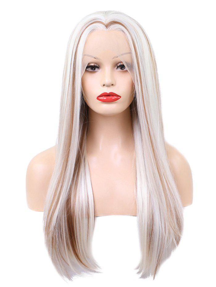 Trendy Long Center Parting Straight Colormix Party Synthetic Lace Front Wig