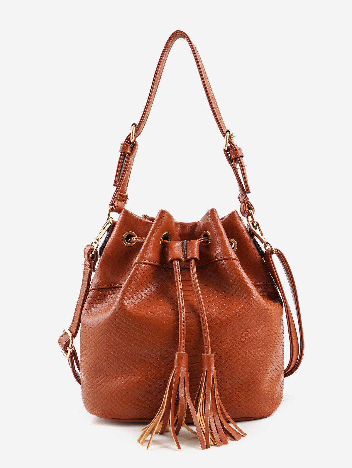 Cheap String Tassels Embellished Embossed Crossbody Bag