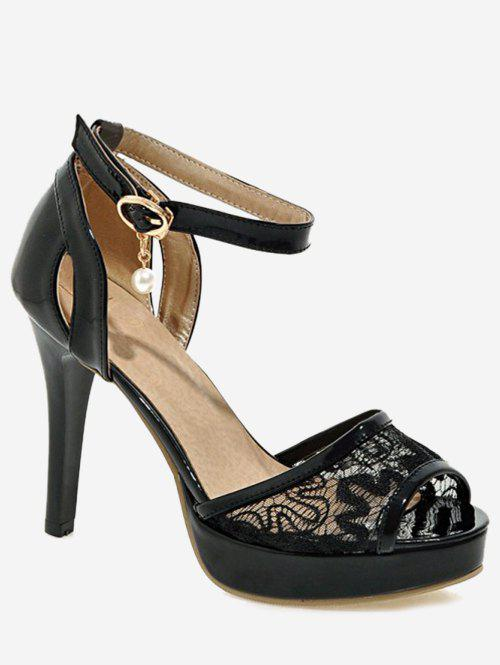 Best Plus Size Ankle Strap Stiletto Heel Lace Sandals